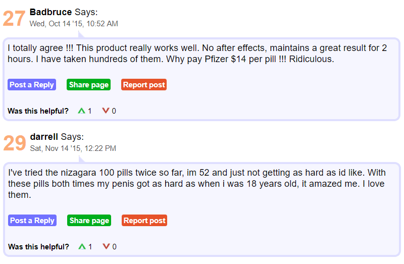 Darell had some feedback to rely on the 14th of November 2015 saying that at the age of fifty-two he has tried Nizagara 100 mg pills twice and he claims that the results were consistently amazing