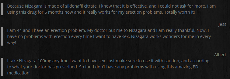 The customer has mentioned that he is well aware of the fact that Nizagara actually consists of sildenafil citrate and is effective